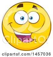 Clipart Of A Cartoon Happy Yellow Emoji Smiley Face Royalty Free Vector Illustration