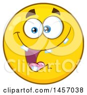 Clipart Of A Cartoon Goofy Yellow Emoji Smiley Face Royalty Free Vector Illustration