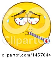 Clipart Of A Cartoon Sick Yellow Emoji Smiley Face Royalty Free Vector Illustration by Hit Toon