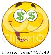 Clipart Of A Cartoon Yellow Emoji Smiley Face With Dollar Sign Eyes Royalty Free Vector Illustration