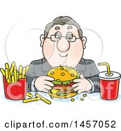 Clipart Of A Cartoon White Business Man Eating A Cheeseburger Fries And Soda For Lunch Royalty Free Vector Illustration