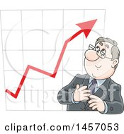 Clipart Of A Cartoon White Business Man In Front Of A Growth Chart Royalty Free Vector Illustration