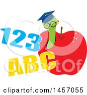 Clipart Of A Graduate Worm Wearing A Hat And Emerging From An Apple With Abc 123 Royalty Free Vector Illustration