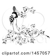 Clipart Of A Silhouetted Black And White Bride Holding A Bouquet With Swirls Royalty Free Vector Illustration
