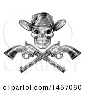 Poster, Art Print Of Black And White Engraved Or Woodcut Styled Cowboy Skull And Crossed Pistols