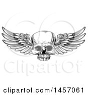 Clipart Of A Black And White Woodcut Etched Or Engraved Winged Human Skull Royalty Free Vector Illustration
