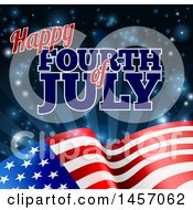 Poster, Art Print Of 3d American Flag And Fourth Of July Text Over Rays And Flares