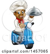 Clipart Of A Cartoon Happy Black Male Chef Holding A Cloche Platter And Riding A Scooter Royalty Free Vector Illustration by AtStockIllustration