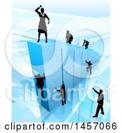 Clipart Of A 3d Blue Bar Graph With Silhouetted Business Men And Women Competing To Reach The Top Royalty Free Vector Illustration