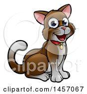 Cartoon Happy Sitting Brown And White Cat