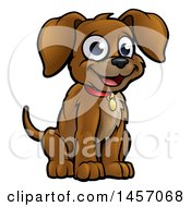 Cartoon Happy Sitting Puppy