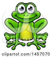 Clipart Of A Cartoon Happy Green Frog Sitting Royalty Free Vector Illustration by AtStockIllustration