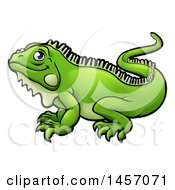 Clipart Of A Cartoon Happy Green Iguana Lizard Royalty Free Vector Illustration by AtStockIllustration