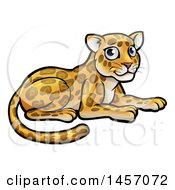 Clipart Of A Cartoon Cute Leopard Or Jaguar Resting Royalty Free Vector Illustration