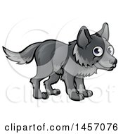 Clipart Of A Cartoon Happy Gray Wolf Royalty Free Vector Illustration