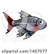 Clipart Of A Cartoon X Ray Tetra Freshwater Fish Royalty Free Vector Illustration by AtStockIllustration