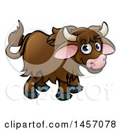 Clipart Of A Cartoon Happy Brown Yak Royalty Free Vector Illustration