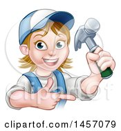 Cartoon Happy White Female Carpenter Holding Up A Hammer And Pointing