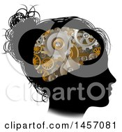 Clipart Of A Black Silhouetted Girls Head In Profile With A Gear Brain Royalty Free Vector Illustration