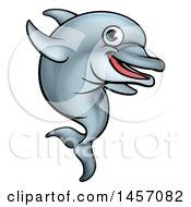 Clipart Of A Cartoon Happy Cute Dolphin Royalty Free Vector Illustration by AtStockIllustration