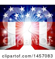 Clipart Of A Background Of Flares And American Stars And Stripes Royalty Free Vector Illustration