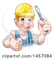 Poster, Art Print Of Cartoon Happy White Male Electrician Holding Up A Screwdriver And A Thumb
