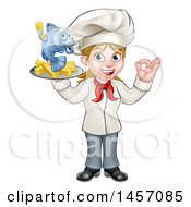 Cartoon Happy White Female Chef Gesturing Perfect And Holding A Fish And Chips Tray