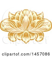 Clipart Of A Beautiful Yellow And Orange Water Lily Lotus Flower Royalty Free Vector Illustration