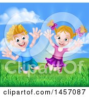 Cartoon Happy Excited Blond Caucasian Boy And Girl Jumping Outdoors