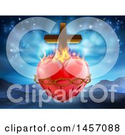Clipart Of A 3d Sacred Heart With Fire Thorns And A Cross Over Mountains Royalty Free Vector Illustration