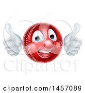 3d Cricket Ball Mascot Character Giving Two Thumbs Up