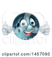 Poster, Art Print Of Bowling Ball Mascot Giving Two Thumbs Up