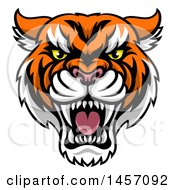 Clipart Of A Tough Tiger Mascot Face Royalty Free Vector Illustration by AtStockIllustration