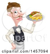 Cartoon Caucasian Male Waiter With A Curling Mustache Holding A Kebab Sandwich And Fries On A Tray