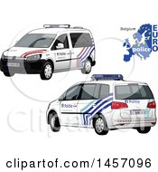 Belgian Police Car Shown From The Rear And Front