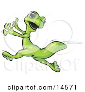 Scared Gecko Lizard Running Clipart Illustration by Leo Blanchette