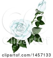 Clipart Of A Stem Of White Roses And Leaves Royalty Free Vector Illustration