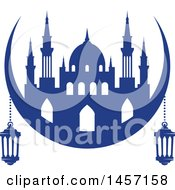 Clipart Of A Blue Ramadan Kareem Design With A Mosque And Lanterns Royalty Free Vector Illustration by Vector Tradition SM