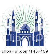 Clipart Of A Blue And Green Ramadan Kareem Design With A Mosque Royalty Free Vector Illustration by Vector Tradition SM