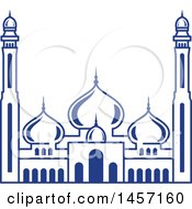 Clipart Of A Blue Ramadan Kareem Design With A Mosque Royalty Free Vector Illustration by Vector Tradition SM