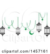 Clipart Of A Black And Green Ramadan Kareem Design With A Moon And Hanging Lanterns Royalty Free Vector Illustration by Vector Tradition SM