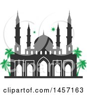 Clipart Of A Ramadan Kareem Design With A Mosque Royalty Free Vector Illustration