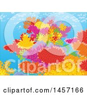 Clipart Of A Backdrop Of A Colorful Coral Reef Royalty Free Vector Illustration