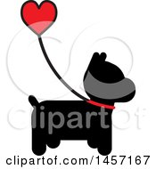 Clipart Of A Black Silhouetted Scottie Dog With A Heart Handled Leash Royalty Free Vector Illustration