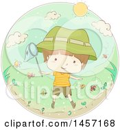 Poster, Art Print Of Sketched Caucasian Boy Catching Bugs A Circle