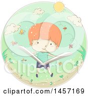 Clipart Of A Sketched Caucasian Boy Reading A Book About Insects In A Circle Royalty Free Vector Illustration