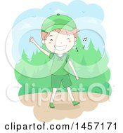 Sketched Happy Caucasian Scout Boy Waving And Whistling While Hiking