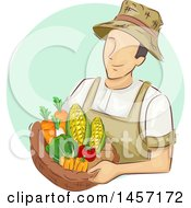 Clipart Of A Sketched White Male Farmer Holding A Basket Of Produce In A Green Circle Royalty Free Vector Illustration