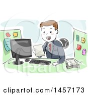 Clipart Of A Sketched White Businessman Reading A Document At His Office Cubicle Royalty Free Vector Illustration by BNP Design Studio