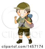 Clipart Of A Happy Brunette Caucasian Scout Boy Gesturing Behind Him And Hiking With Camping Gear Royalty Free Vector Illustration
